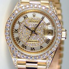 Rolex Lady Datejust President Yellow Gold Myraid Pave Diamond Roman Dial Lugs Crown Collection 69158 Watch Chest