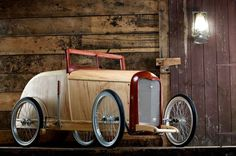I built this soapbox to compete in the 2010 'Hotrod Hayride' soapbox derby where we were beaten in the semi-final and later in the same year at Goodwood where we only made it to the quarter finals but won the trophy for best cart and also for most money raised for charity. It is built from Walnut, Ash and Ash veneered plywood. I used 16 inch BMX wheels with the all important white-wall tyres. It has a single disc brake with miniature track rod ends and a formula Ford steerin...