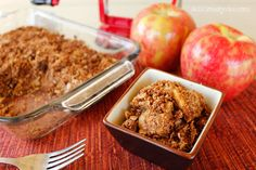 Delicious apple crisp recipe! This dessert is made healthy using coconut oil, coconut flour, & coconut sugar! Perfect for gluten free, diabetic, and paleo diets