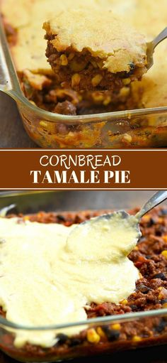 Tamale Pie is two classic comfort foods baked into one fantastic casserole. With seasoned beef and a golden cornbreadtopping, it's a hearty and tasty weeknight dinner the whole family will love. #comfortfood #casserole #texmex #cornbread #groundbeef  #easyweeknightdinner #recipes #easyrecipes