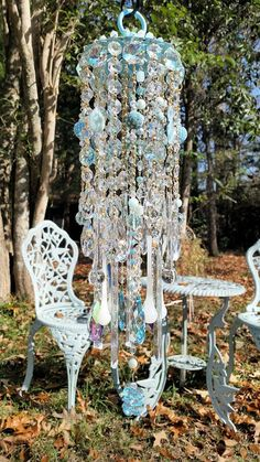 Breathtaking Icy Blues Antique Crystal Wind door sheriscrystals
