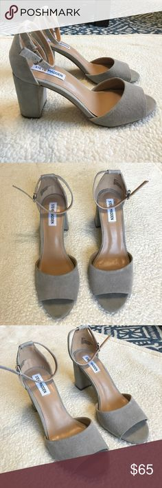 NEW Steve Madden block heels light gray NEW WITHOUT TAGS: Light gray, size 9, Steve Madden block heels, open toe, with an ankle strap. These have never been worn! These would be such a cute addition to your closet for any occasion! Steve Madden Shoes Heels