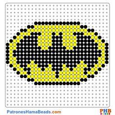 Escudo de Batman plantilla hama bead. Descarga una amplia gama de patrones en formato PDF en www.patroneshamabeads.com