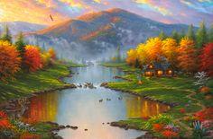 'Evening Retreat' - Illustration/Painting by Abraham Hunter Landscape Art, Landscape Paintings, Scenery Paintings, Hunter Page, Thomas Kinkade, Beautiful Paintings, Diy Painting, Coffee Painting, Home Art