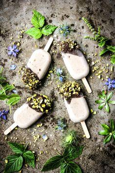 Banaan-pistache ijsjes met munt & chocolade- popsicles- icecream