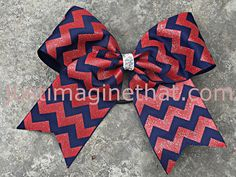 2.25 Width Jumbo Cheer Bow 6X6 Navy and Red by JustImagineThatBows