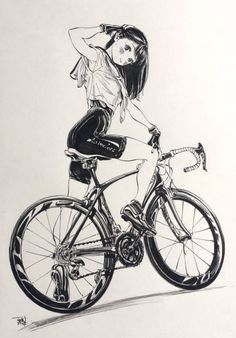 Sailor Lepin, Bicycle, Girl, Anime Black and White Art Manga Drawing, Manga Art, Drawing Sketches, Art Drawings, Comics Illustration, Drawn Art, Poses References, Bicycle Art, Cycling Art