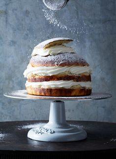 Swedish Semla Layer Cake by Elisabeth Johansson & Susanna Blåvarg at Have a Yummy Day Swedish Recipes, Sweet Recipes, Cake Recipes, Baking Recipes, Dessert Recipes, Cupcakes, Cake Cookies, Cupcake Cakes, Cookies Decorados