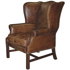 Gaston Rustic Lodge Aged Leather Wingback Library Arm Chair ($2,840) ❤ liked on Polyvore featuring home, furniture, chairs, accent chairs, chair, seating, home decor, leather accent chairs, wing back chairs and leather wingback chair