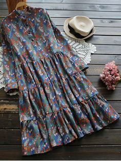 Long Sleeve Floral Buttoned Dress - MULTICOLOR ONE SIZE Mobile