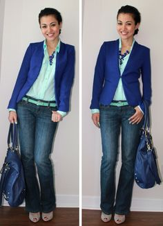 cobalt & mint combo.... I feel like you can wear your mint bird top with blue jacket