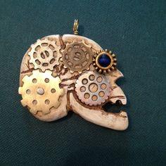 Steampunk Gear Head Faux bone skull by QuailHollowForgings on Etsy