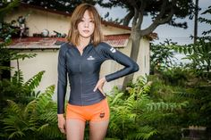 Premium Women Surf Rash Guard Swimsuit Swimwear Beachwear Full Zip-up GRID    #GRID