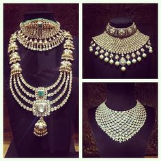 Diamond Necklaces : Image Description Attn brides-to-be! Get ready for the royal treatment at at their new luxury studio in Mehrauli (PS: that's right next to Olive at One Style Mile in Delhi! Royal Jewelry, India Jewelry, Ethnic Jewelry, Antique Jewelry, Gold Jewelry, Jewelery, Traditional Indian Jewellery, Bollywood Jewelry, Couture