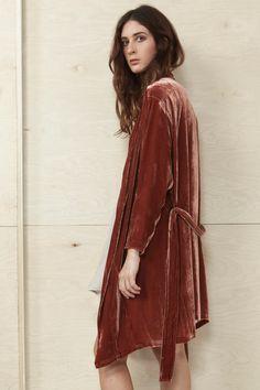 Fire Red Velvet Kimono Robe