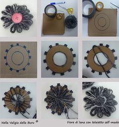 Come costruirsi un telaio di cartone e realizzare fiori in lana o cotone - Spiegazioni passo a passo sul blog
