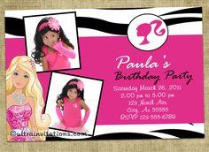 Barbie Birthday Invitation By KaitlinsKardsNMore On Etsy - Free barbie birthday invitation layout