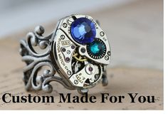 Items similar to Silver Unique Ring Personalized Gift Statement Ring Mom Jewelry Steampunk Ring Watch Ring CUSTOM Made Jewelry Birthstone Ring Mothers Ring on Etsy Steampunk Rings, Steampunk Watch, Mother Rings, Filigree Ring, Unique Rings, Vintage Watches, Statement Rings, Antique Brass