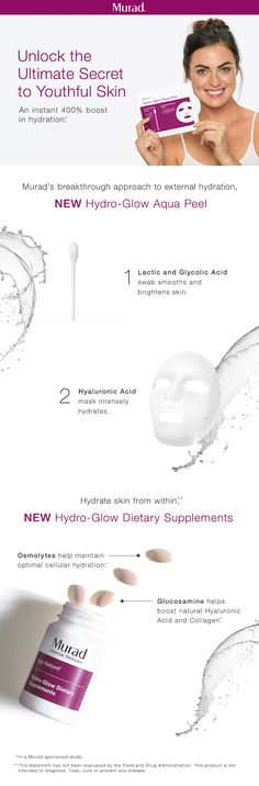 The best way to prevent signs of aging is by ensuring skin is optimally hydrated. Dr. Murad's breakthrough approach hydrates the skin inside-out for the ultimate glow. Use the Hydro-Glow Aqua Peel retexturizing swab to smooth and brighten skin. Then apply the Hydro-Glow Aqua Peel moisture infusion mask to exfoliate and intensely hydrate the surface of your skin. Follow with Hydro-Glow Dietary Supplements to hydrate skin from within, boosting moisture in cells for more youthful-looking skin.