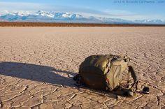 The Clikelite Hiker resting at Barreal Blanco desert.  San Juan, Argentina.