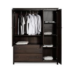 Grain Wood Furniture Shaker 3-door Espresso Finish Solid Wood Wardrobe