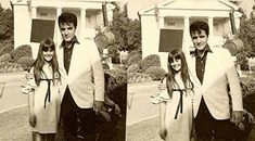 """Songwriter Lee Hazlewood and his daughter with Elvis as 'Steve Grayson' in """"Speedway."""""""