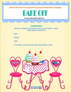 Fundraising bake sale flyer for united way cards invites etc bake off flyer for fundraiser yadclub Gallery