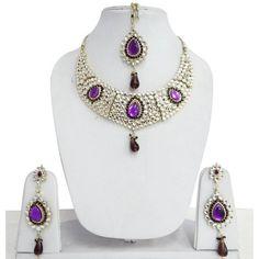 Indian Wedding Jewelry Purple Stone Necklace Earrings Tikka Set Bridal... ($39)…