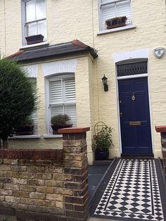 london yellow stock brick wall victorian black and white mosaic tile path slate paving london front garden company wimbledon kingston sheen