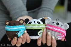 "FREE crochet pattern for these round and adorable ""Teddy Ornaments"": make a brown bear, panda, or koala!"