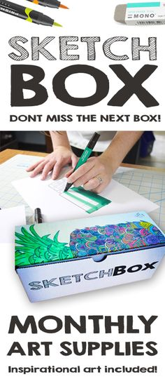 Every month we deliver new art supplies to your door.  Included in the box is a piece of art from our featured artist that used the supplies from the box to make a unique piece for SketchBox.  Our featured artists are our subscribers, so please don't hesitate to share your art with us!  Sign up at www.getsketchbox.com