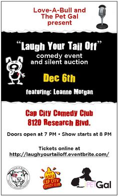 """""""Laugh Your Tail Off"""" Comedy Event & Silent Auction {Thursday, December 6th, 7p, Austin, Texas}"""