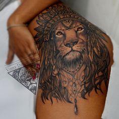 55 Sexy Tattoo Designs For Women Lion Tattoo On Thigh, Lion Shoulder Tattoo, Hip Thigh Tattoos, Floral Thigh Tattoos, Tribal Shoulder Tattoos, Shoulder Tattoos For Women, Dope Tattoos, Body Art Tattoos, Tribal Tattoos