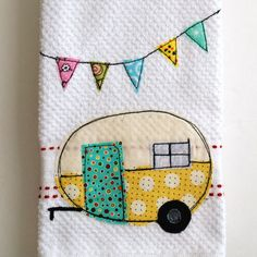 Vintage Camper Trailer Dish Towel - Who doesnt love the look of a vintage trailer? Hang this adorable little dish towel in your cozy little camper and be the talk of the campsite! This white tea/dish towel is accented with red machine embroidered trim work. It is a 100% cotton waffle weave that has been free motion, machine appliqued with coordinating fabrics in lemon yellow and cherry red. All machine stitching has been done in black thread so that these gorgeous colors can pop. The bun...