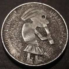 RAY CASTRO HOBO NICKEL - KOKOPELLI FIGURE* - 2005d JEFFERSON NICKEL Hobo Nickel, Carving, Personalized Items, Wood Carvings, Sculptures, Printmaking, Wood Carving