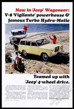 All Work Or Play VINTAGE AD Boat 4X4 1965 JEEP Universal Blue SUV