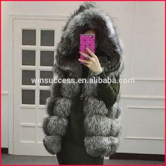 high quality long pile women hooded silver fox fur vest
