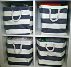 Nautical inspired storage for boys room. They have these baskets at Hobby Lobby.
