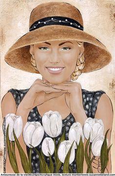 Suzanne Béland, artiste peintre - Galerie Art Visage, L'art Du Portrait, Afrique Art, Small Canvas Paintings, Painting People, Art Et Illustration, Illustrations, Digital Art Girl, Human Art
