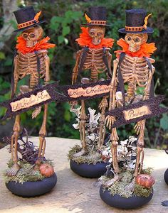 By Iva Wilcox © 2010 ~ Three dapper skeletons are all dressed for the big night… Halloween Trophies, Halloween Skeletons, Halloween Skull, Vintage Halloween, Halloween Decorations, Halloween Costumes, Halloween Clothes, Halloween Ornaments, Vintage Witch