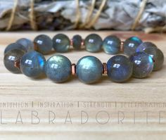 Etsy :: Your place to buy and sell all things handmade - Labradorite Bracelet. Enhances intuition, inspiration, strength, and deter - Sea Glass Jewelry, Crystal Jewelry, Beaded Jewelry, Handmade Jewelry, Jewellery, Healing Bracelets, Gemstone Bracelets, Gemstone Beads, Stackable Bracelets