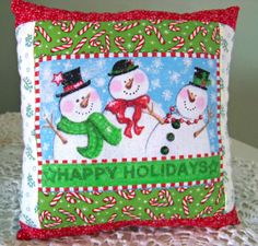 Cute Little Snowman Christmas Pillow / Accent Pillow by DoesMeadow