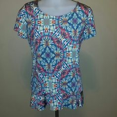 SUNNY LEIGH TIE DYE TOO Soft vibrant top, great casual look for Spring Sunny Leigh Tops Tees - Short Sleeve