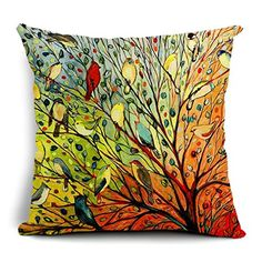 Onker Cotton Linen Square Decorative Throw Pillow Case Cushion Cover 18 x 18 New Illustration Painting Hundreds of Birds ** Check out this great product. (This is an Amazon Affiliate link and I receive a commission for the sales)
