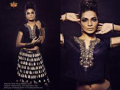Bohemian-Rani Festive Collection 2013- Black silk crop top & floral black/cream skirt. Get the look- www.sapanaamin.com/fb- dreamsbysapana