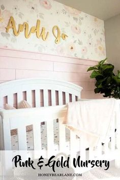 Baby Girl Pink and Gold Nursery Reveal - Honeybear Lane Painting Moving Decor and Organization Apartment Decoration, Decoration Bedroom, Diy Home Decor, Room Decor, Nursery Room, Kids Bedroom, Kids Rooms, Nursery Decor, Bedroom Ideas
