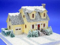 Little Glitter Houses Photo Gallery - Howard Lamey - Picasa Web Albums Christmas Village Houses, Christmas Town, Putz Houses, Christmas Villages, Fairy Houses, Christmas Crafts, Christmas Glitter, House Template, Paper Houses