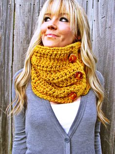 Lamb's Wool Collection - Plush Wool Cowl Scarf In Mustard with Handmade Reclaimed Wood Buttons - Adjustable - Unisex
