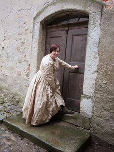 "flying dreams: A Sunday stroll in 1845 - Kerstin is wearing ""Gettysburg"" side-lacing boots with her gorgeous 1845 day dress"