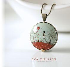 GODSPEED unique handpainted pendant. Antiqued brass by EvaThissen